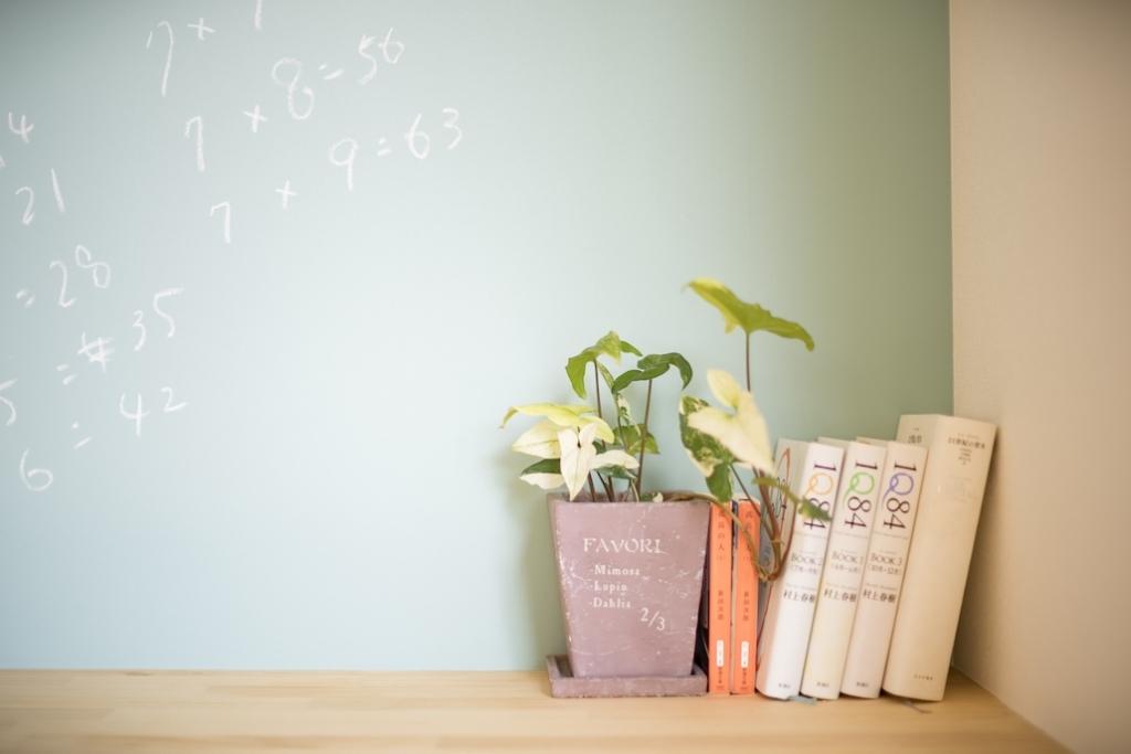 本と観葉植物とクロス黒板