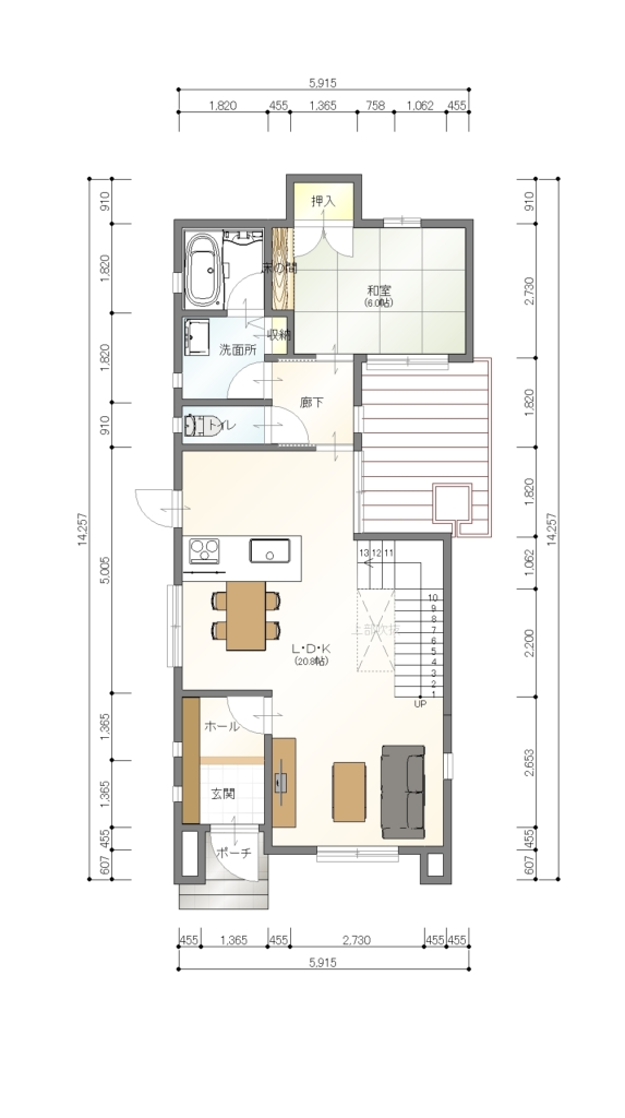 ホロスホーム若松分譲 1階平面図